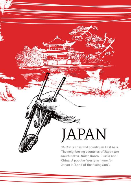 Designvorlage Japanese pagoda and sushi für Poster