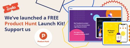 Product Hunt Launch Kit Offer Digital Devices Screen Facebook coverデザインテンプレート