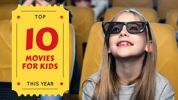 Movies for Kids Girl in Cinema in 3D Glasses