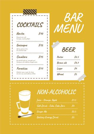 Ontwerpsjabloon van Menu van Bar drinks variety