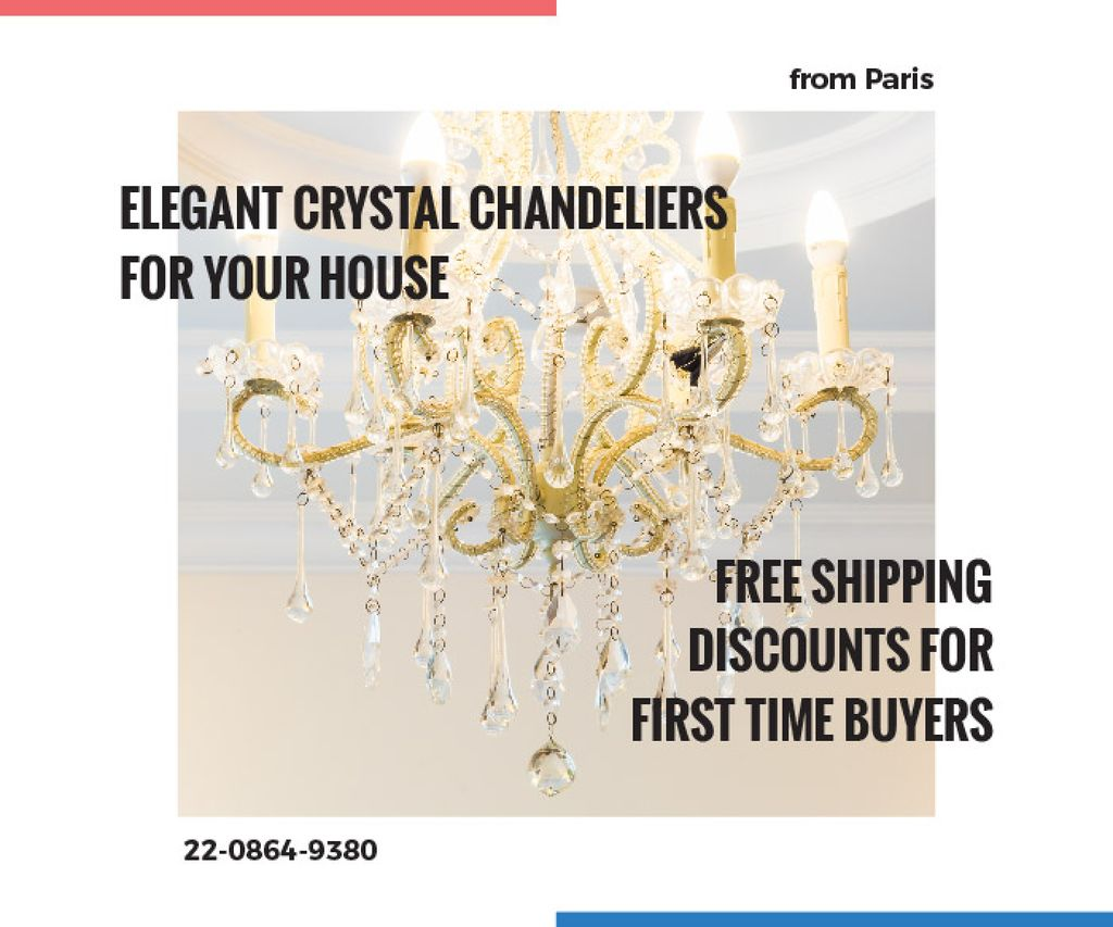 Elegant Crystal Chandelier Ad in White | Large Rectangle Template — ein Design erstellen