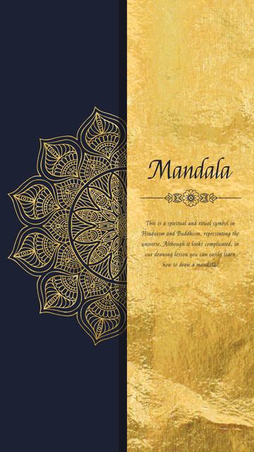 Modèle de visuel Golden Ornate Mandala - Instagram Video Story