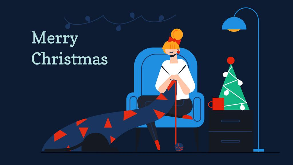 Woman knitting by Christmas tree — Design Template