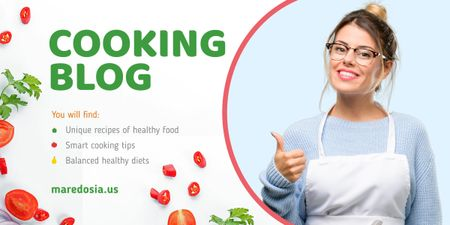 Plantilla de diseño de Cooking Blog Woman Chef Thumb Up Image