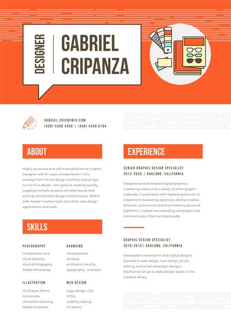 Ontwerpsjabloon van Resume van Professional Designer creative profile