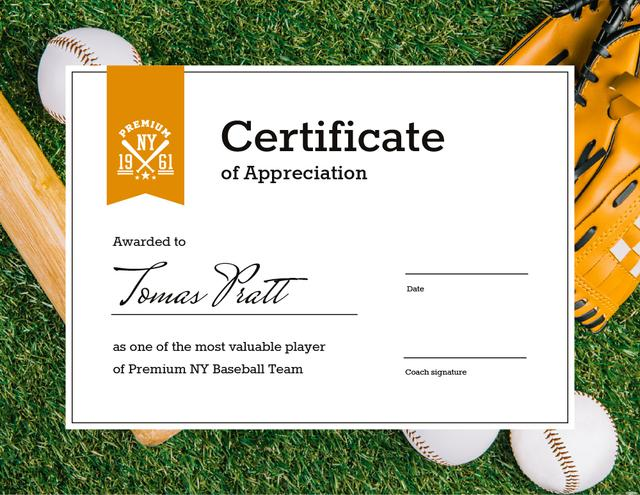 Baseball Player of the month Appreciation Certificate Modelo de Design