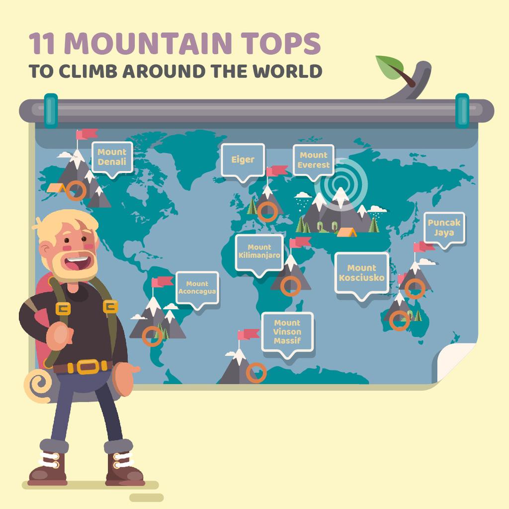 Experienced traveler presenting by map — Modelo de projeto