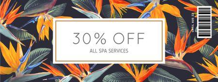Ontwerpsjabloon van Coupon van Spa Services Offer on Floral Pattern
