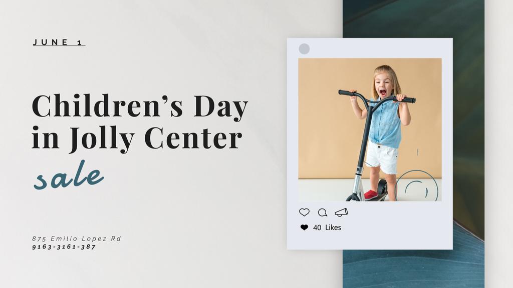 Girl riding kick scooter — Créer un visuel