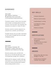 Customer Service Representative skills and experience