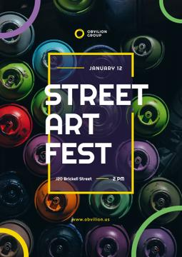 Art Event Announcement Spray Paint Cans  | Poster Template