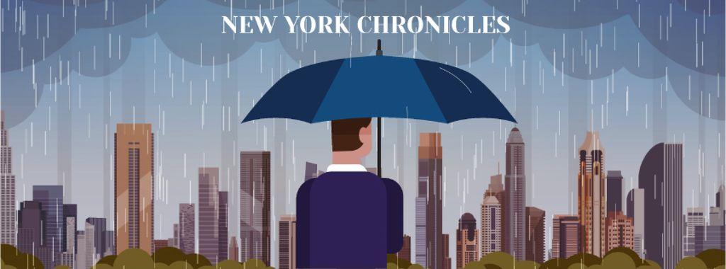 Man with umbrella under rain looking at city — ein Design erstellen