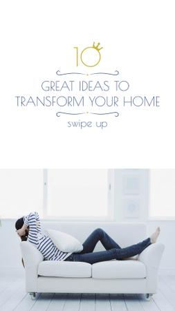 Ontwerpsjabloon van Instagram Story van Home Decor Ad Woman Resting on Sofa