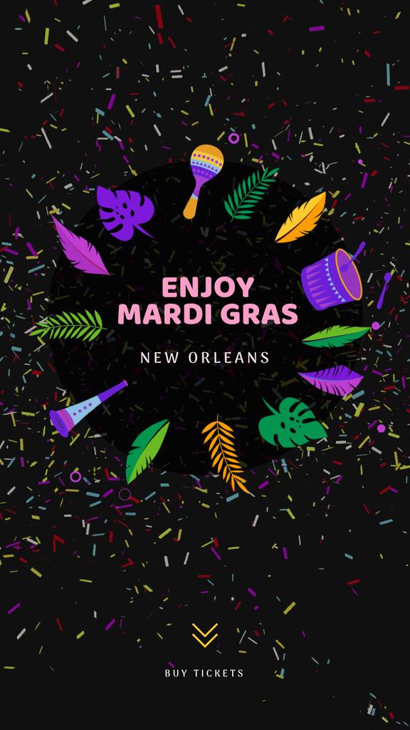 Mardi Gras Carnival Attributes Frame | Vertical Video Template — Maak een ontwerp