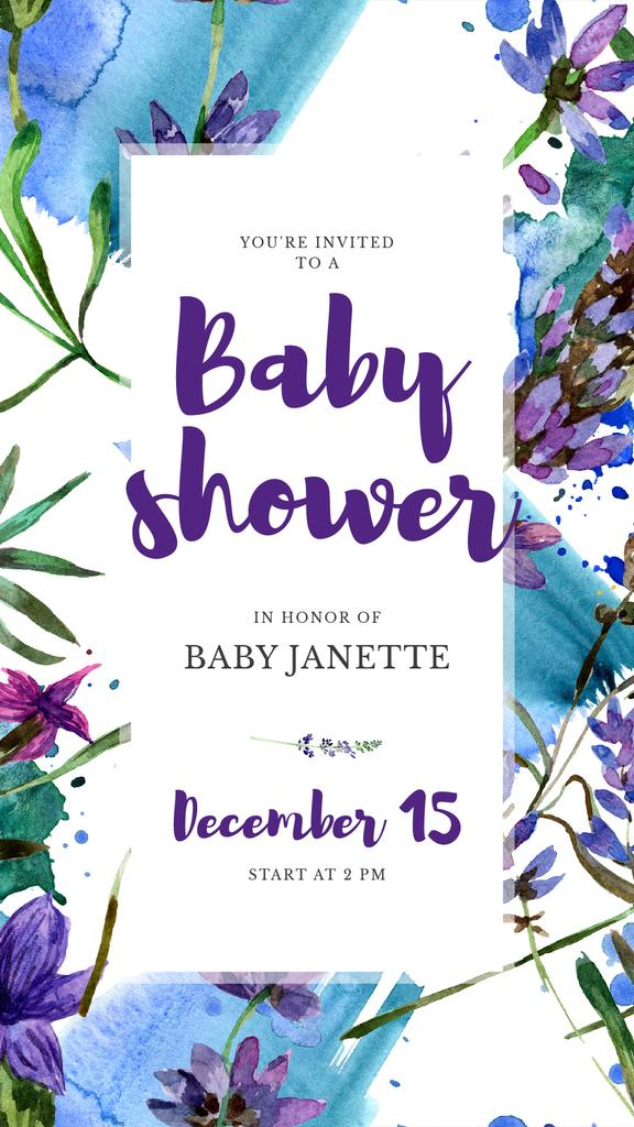 Baby Shower Invitation Watercolor Flowers in Blue — Créer un visuel