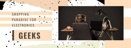 Plantilla de diseño de Young Man using Tablet Facebook cover