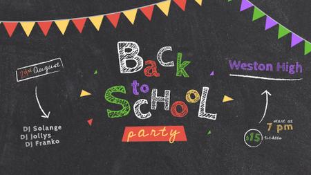 Plantilla de diseño de Back to School Party Inscription on Blackboard Full HD video