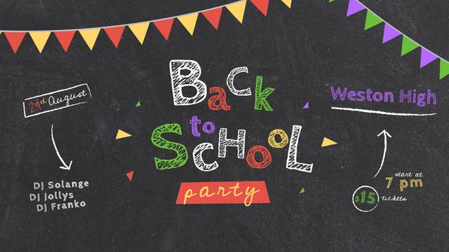 Back to School Party Inscription on Blackboard Full HD video Modelo de Design