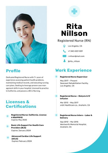 Professional Nurse skills and experience Resume – шаблон для дизайну