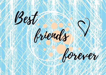 Best friends Forever on Blue Postcard Design Template