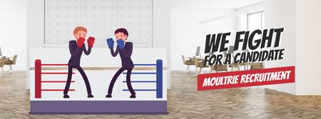 Two businessmen boxing on ring Facebook Video cover Modelo de Design