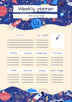Bright Weekly Planner with Cosmic Drawings