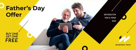 Plantilla de diseño de Sale on devices in Father's Day Facebook cover