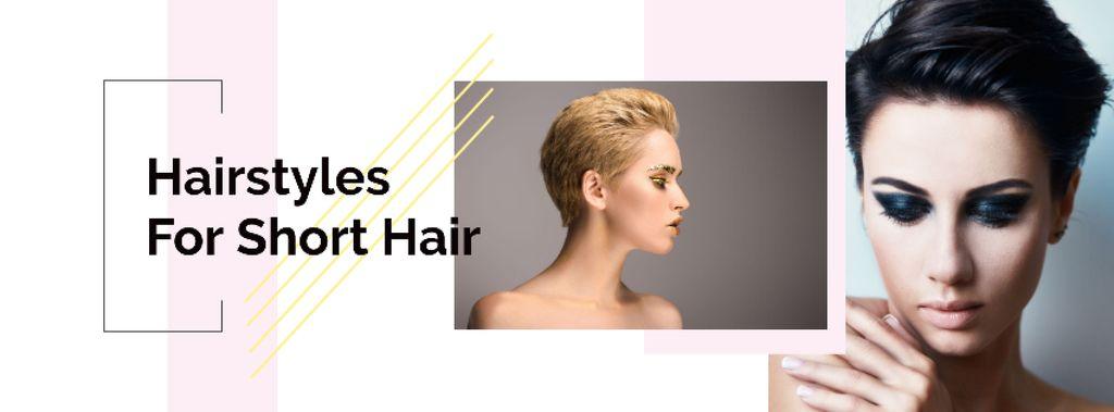 Women with short haircuts Facebook cover – шаблон для дизайну