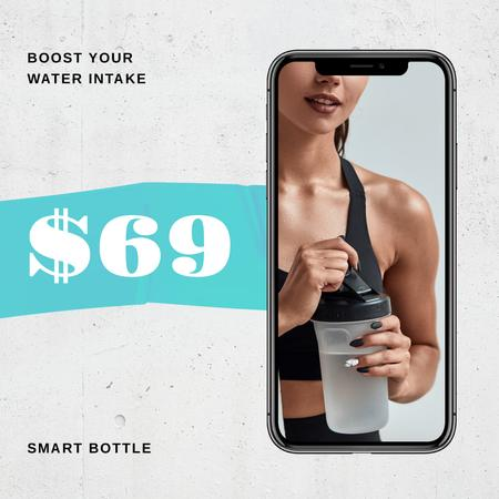 Sportive Woman holding Water Bottle Instagram Design Template
