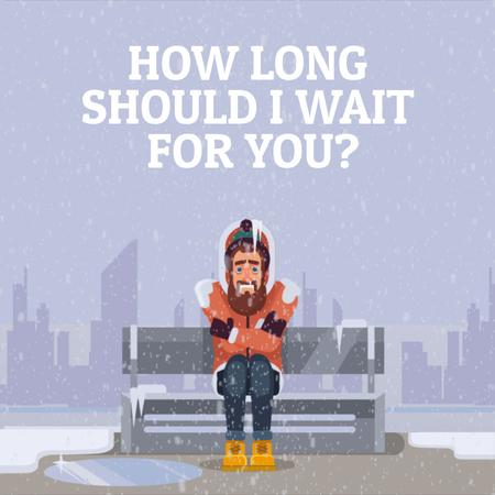 Szablon projektu Man freezing on bench in Winter City Animated Post