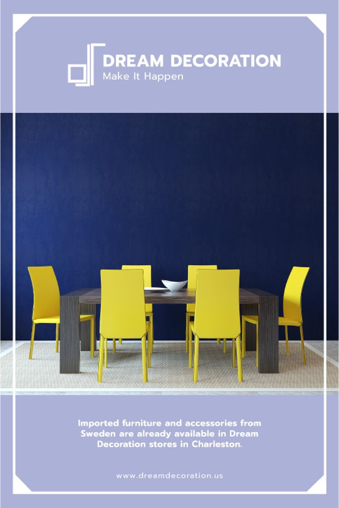 Design Studio Ad Kitchen Table in Yellow and Blue Tumblr Design Template