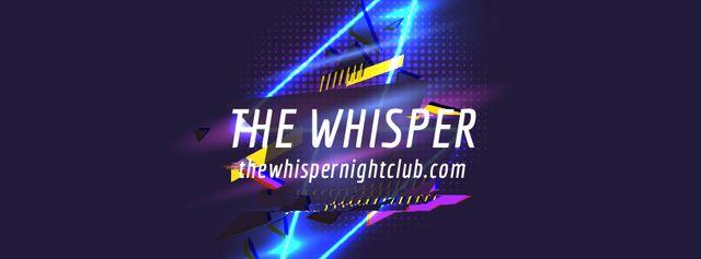 Plantilla de diseño de Flickering neon lights with glitch Facebook Video cover