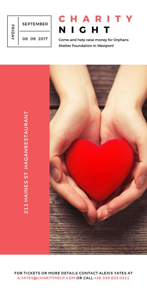 Charity event Hands holding Heart in Red — Crear un diseño