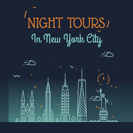 Night Futuristic New York City Lights Animated Post Modelo de Design