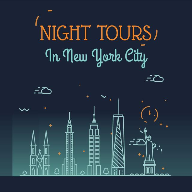 Modèle de visuel Night Futuristic New York City Lights - Animated Post