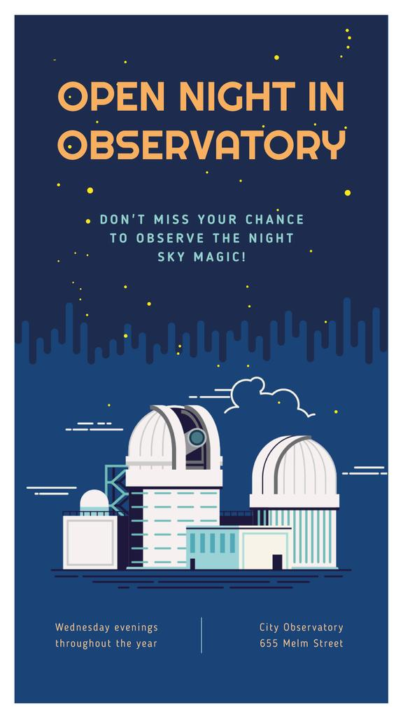 Observatory building under night sky — Crear un diseño