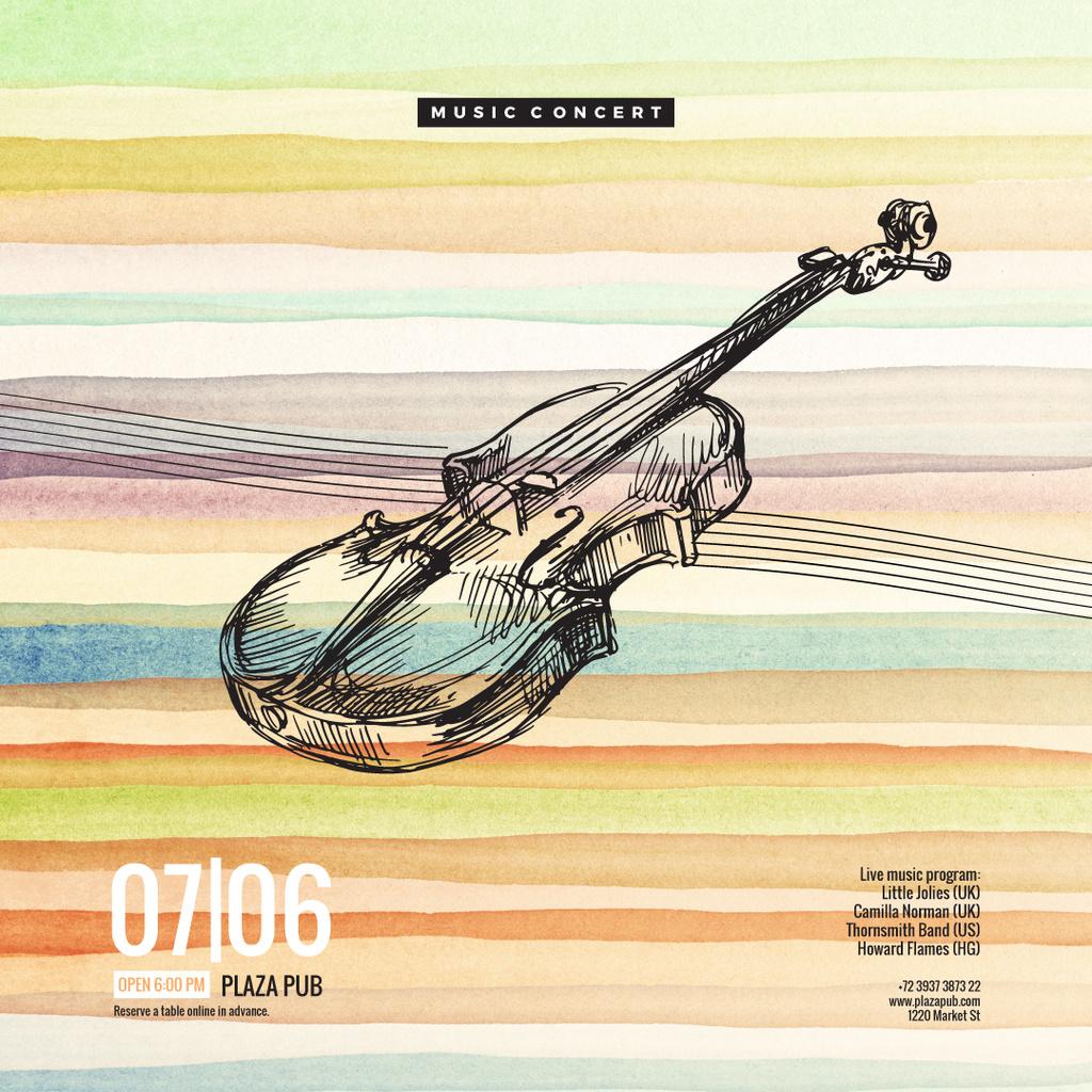Classical music event poster with violin — Crear un diseño
