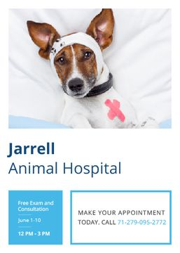 Animal Hospital Ad with Cute injured Dog