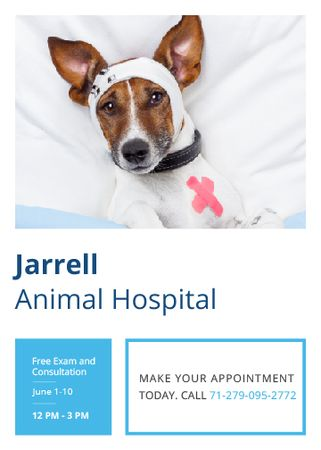Designvorlage Animal Hospital Ad with Cute injured Dog für Flayer
