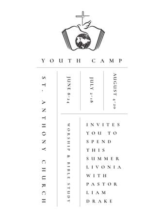 Youth religion camp Promotion in white Poster US – шаблон для дизайна
