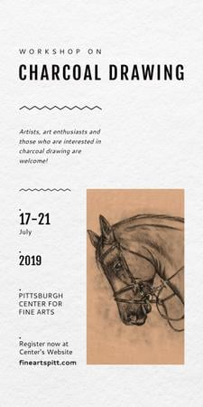 Drawing Workshop Announcement Horse Image Graphicデザインテンプレート