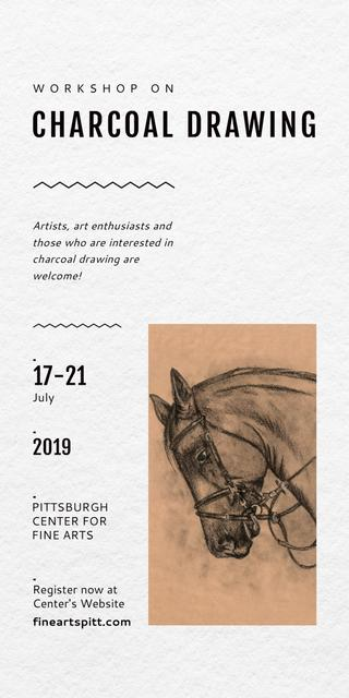 Plantilla de diseño de Drawing Workshop Announcement Horse Image Graphic