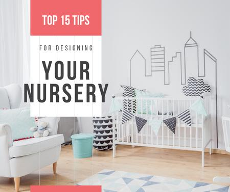 Cozy nursery interior in white Facebook – шаблон для дизайну