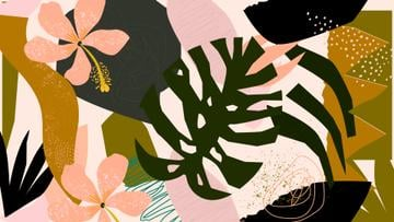 Tropical Plants and flowers pattern