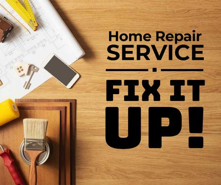 Szablon projektu Home Repair Service Ad Tools on Table Facebook