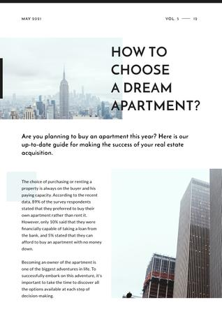 How to choose dream apartment Article with Skyscrapers Newsletter Design Template