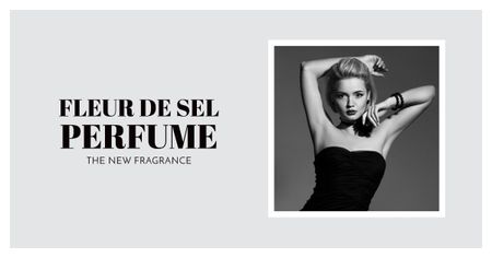 Template di design Perfume ad with Fashionable Woman in Black Facebook AD