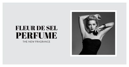 Perfume ad with Fashionable Woman in Black Facebook AD Tasarım Şablonu