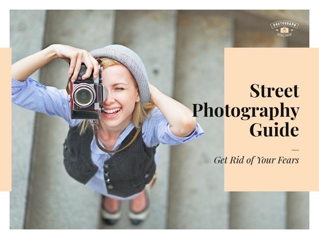 Plantilla de diseño de Street Photography Guide Woman with Camera in City Presentation