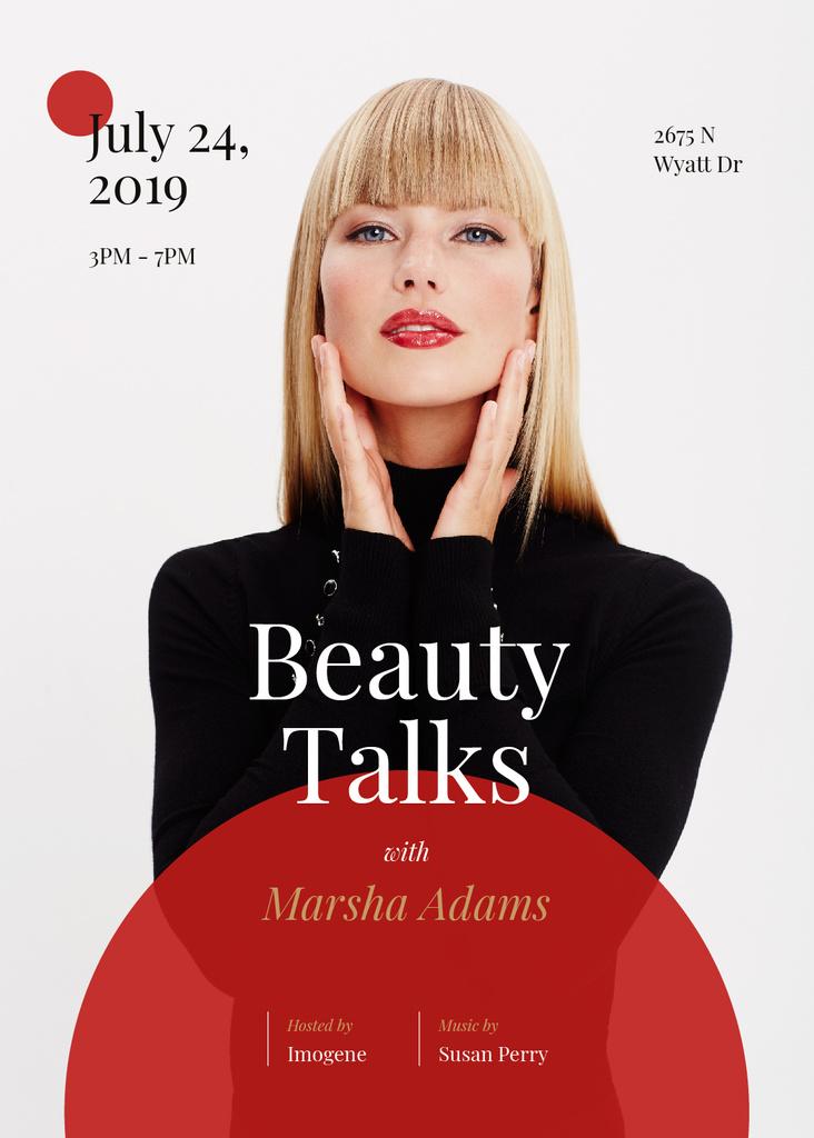 Template di design Young attractive woman at Beauty event Invitation